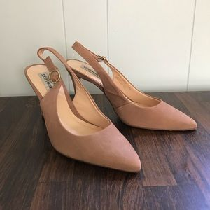 Closed-Toe Nude Pointed Slingback pumps heels